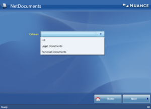 Choosing cabinet in NetDocuments